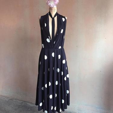 Vintage 80s Polka Dot Buttoned Neckline Dress by LucileVintage