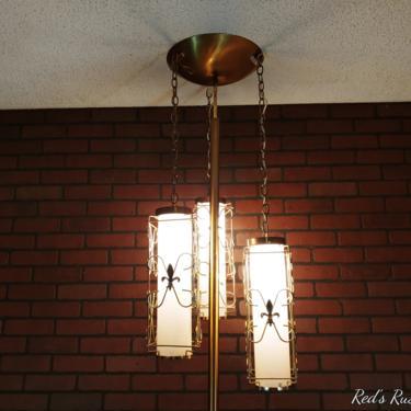 Retro Brass 3 Chain Hanging Fleur de Lis Lantern Tension Pole Lamp by RedsRustyRelics