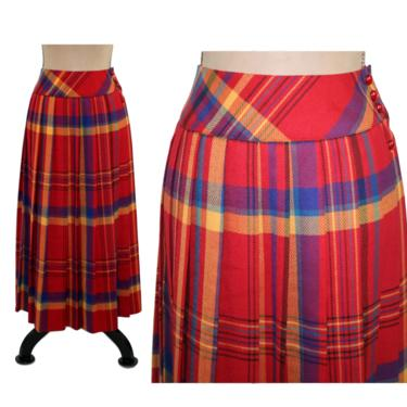 80s Long Pleated Plaid Maxi Skirt Size 6, High Waist Wool Blend, Blue Yellow Red Tartan, 1980s Clothes Women, Vintage Clothing from Panther by MagpieandOtis