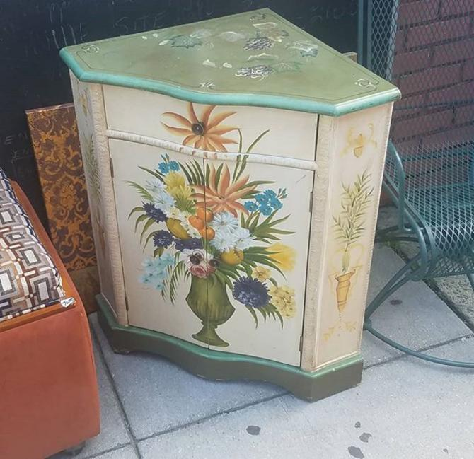 SOLD.                    Custom Handpainted Corner Cabinet, $123.