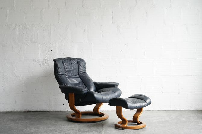 Ekornes Blue Leather Lounge Chair and Ottoman