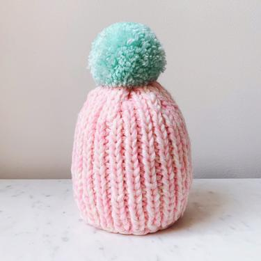 Little Minnows Hand Knit Baby Beanie Hat // Bright Pink Melange with Teal Pompom by mammothandminnow