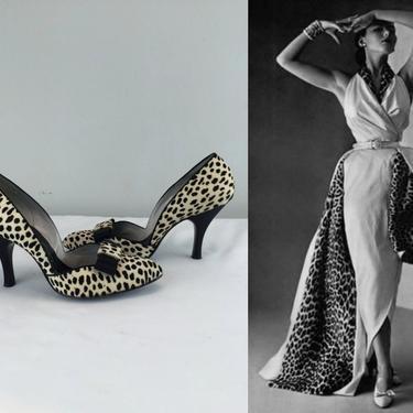 Let The Hunt Begin - Vintage 1950s Printed Fur Leopard D'Orsay Heels Shoes Stilettos - 6 1/2 by RoadsLessTravelled2