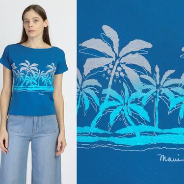 80s Maui Palm Tree Tourist Tee - Medium | Vintage Crazy Shirts Hawaii Blue Graphic T Shirt by FlyingAppleVintage