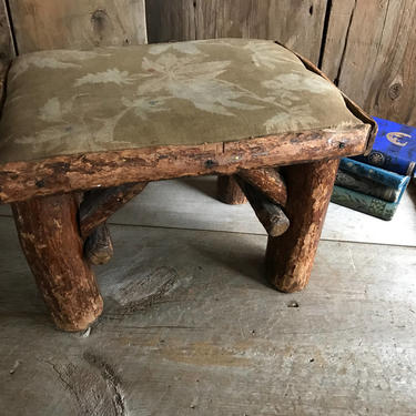 Stupendous Rustic Twig Log Wood Cabin Stool Small Bench Seat Country Bralicious Painted Fabric Chair Ideas Braliciousco