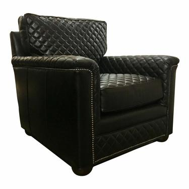Drexel Heritage Modern Black Quilted Leather Club Chair