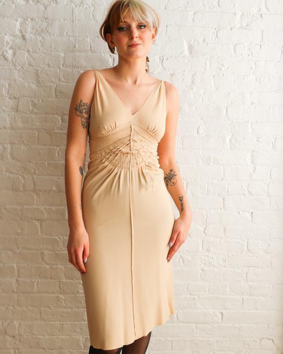 Prada Gathered Midi Dress, Size 40