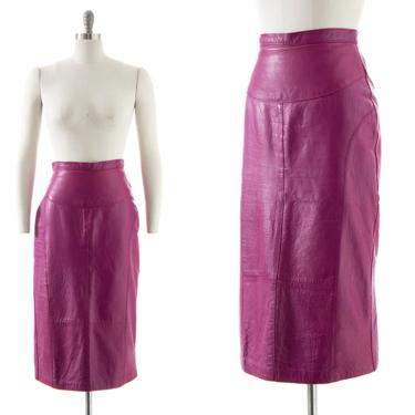 Vintage 1970s Pencil Skirt   70s Purple Leather Buttery Soft High Waisted Midi Wiggle Skirt (small) by BirthdayLifeVintage