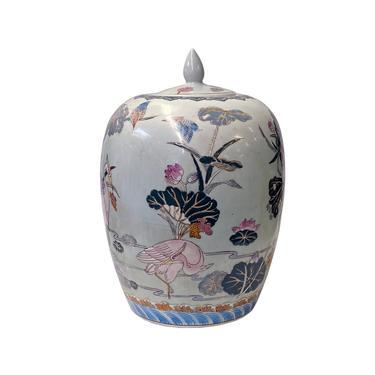 Chinese Handmade White Porcelain Lotus Flower Crane Bird Jar ws1591E by GoldenLotusAntiques