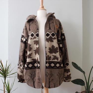 Vintage Brown Fleece Nature Patterned Cozy Oversized Jacket Women's Size M by NeonSkyVintageMN