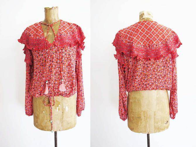 Vintage 80s Diane Freis Ruffled Blouse S L - Diane Freis Red Georgette Polka Dot Tassel Blouse - 80s Clothing - Boho Romantic Puffy Shirt by MILKTEETHS