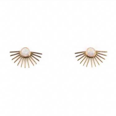Opal Beam Stud Earrings