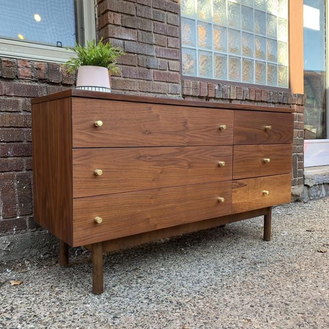 Asymmetrical 6 Drawer Lowboy Dresser by Stanley