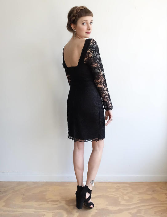 Vintage 80s Black Lace Body Con Dress  1980s Long Sleeve Bustier ... 1da0fa797