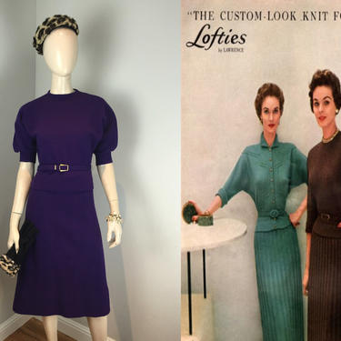 They Were the Custom Around Here - Vintage 1950s Purple Plum Wool Knit Sweater Skirt Set w/Belt - M by RoadsLessTravelled2