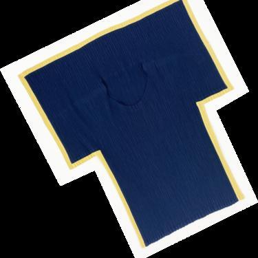 Issey Miyake pleated folded collar top