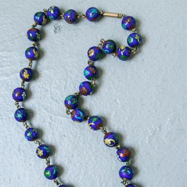1920s Necklace Chinese Enamel Cloisonne Flapper Deco Jewelry by dejavintageboutique