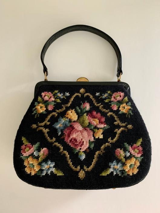 1950s Tapestry needlepoint frame handbag by MartinMercantile