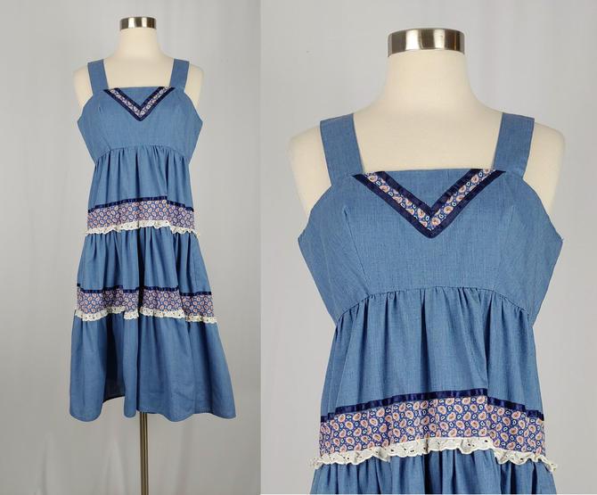 Vintage Seventies Dress - 1970s Handmade Denim Peasant Dress - 70s Boho Tiered Chambray Dress - Small by JanetandJaneVintage