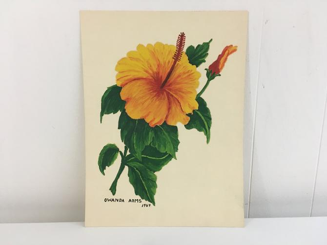 Vintage Floral Original Painting Art 1964 1960s Hibiscus Tiki Flowers Green Yellow Painted by Maryland Artist Owanda Arms Painter Hawaiian by CheckEngineVintage