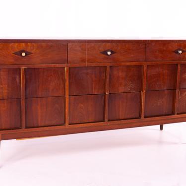 Basic Witz Mid Century Walnut 9 Drawer Lowboy Dresser - mcm by ModernHill