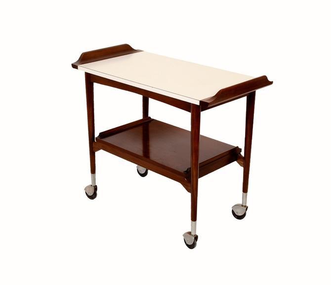 Walnut Bar Cart Rolling tea cart Mid Century Modern by HearthsideHome