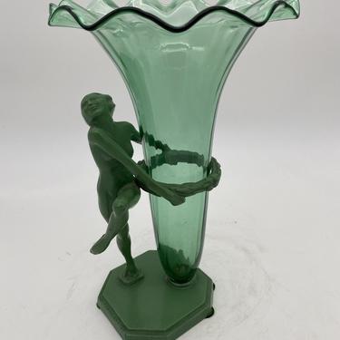 Frankart F612 Nude Flapper Art Deco Vase with Steuben Glass Insert, Circa 1927 by HarveysonBeverly