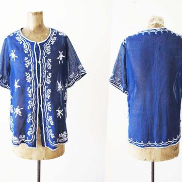 Vintage 70s Embroidered Blouse S - Embroidered Floral Short Sleeve Top - Navy Blue White Boho Tunic Shirt - Semi Sheer Cotton Shirt by MILKTEETHS