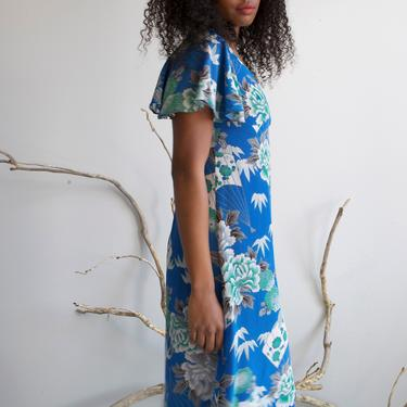 long blue silky crepe floral dress / size XS S by EELT