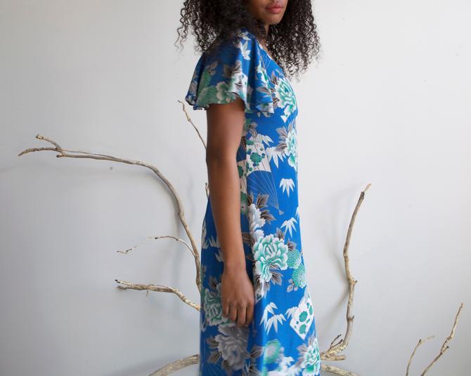 long cobalt blue silky crepe floral dress / size XS S by EELT
