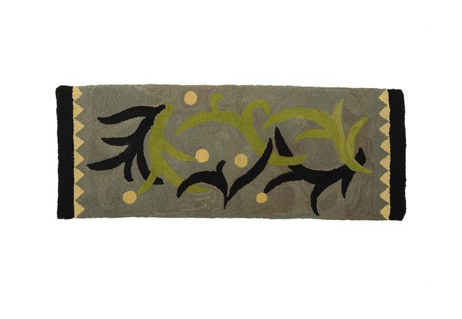 Matisse Style Hook Rug Mid Century Modern Folk Art by HearthsideHome