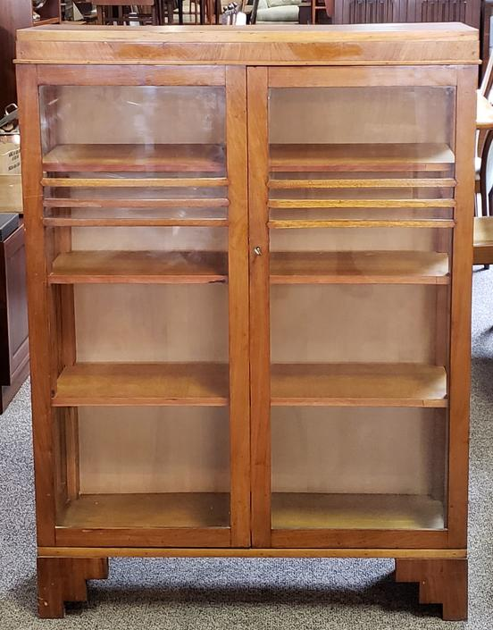 MA25 Art Deco Walnut & Glass Door Cabinet c.1940s