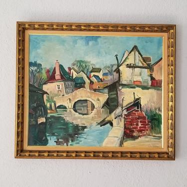 Vintage Colorful French River Landscape Oil on Canvas Painting. by MIAMIVINTAGEDECOR
