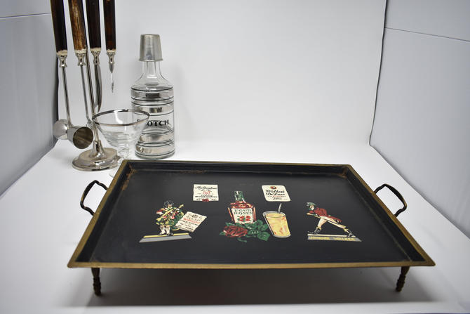 """Musical Whiskey Tray Plays When Carried Stops when put down! """"For He's a Jolly Good Fellow"""" Vintage Bar Advertisement Johnnie Walker Kitsch by LostandFoundHandwrks"""