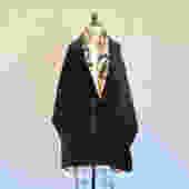 Vintage Salvatore Ferragamo Reversible Black Evening Velvet Shawl Wrap Floral Silk Lining Tassel Closure Formal Cocktail 1990's by seekcollect