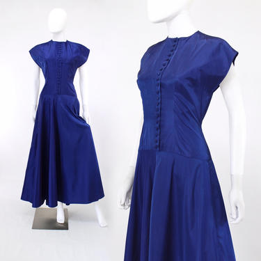 1940s Cobalt Blue Taffeta Gown - 1940s Blue Evening Gown - 1940s Blue Gown - 1940s Blue Dress - 1940s Taffeta Gown | Size Extra Small /Small by VeraciousVintageCo