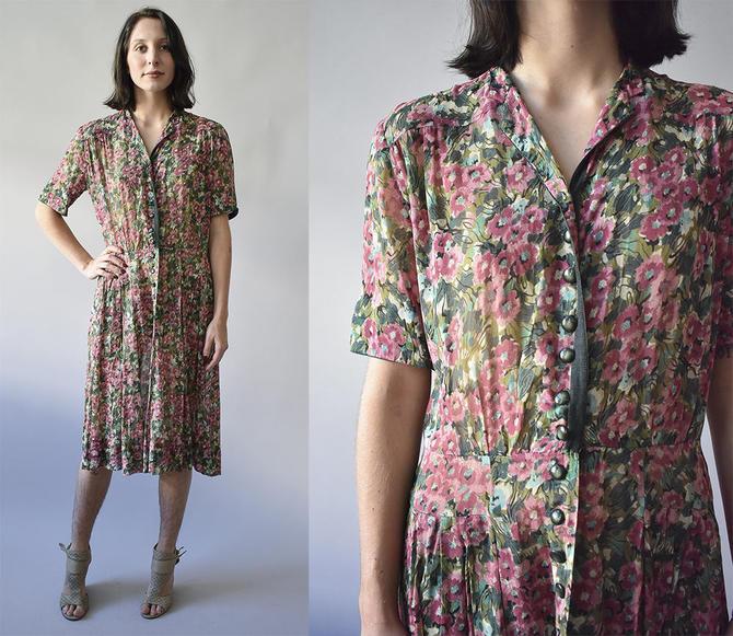 7f5403abbd0 Vintage 1940s Dress / Floral Dress / 1940s Cocktail Dress / 1940s Shirt  Dress / Button Up Dress / Floral 40s Dress / Floral Cocktail Dress by ...