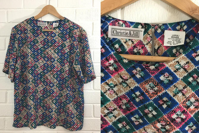Vintage Plaid Top Jewel Tone Christie & Jill Pink Green Blue White 1980s 1990s Short Sleeved Boxy Flowy Women's Plus XL Large Curvy Volup by CheckEngineVintage