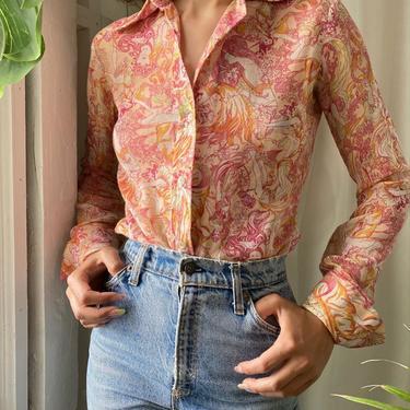 70s Nouveau Ladies Print Shirt