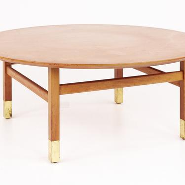Founders Furniture Company Mid Century Walnut and Brass Round Coffee Table - mcm by ModernHill