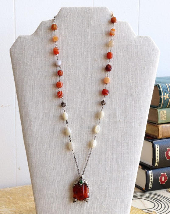 What She Got Back [assemblage necklace: vintage carnelian pendant, mother of pearl, agate, sterling silver] by nonasuch