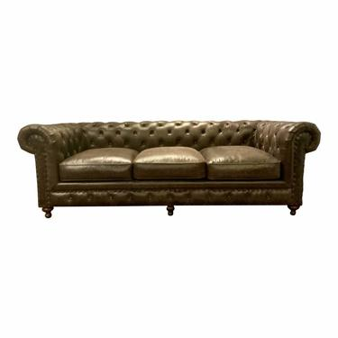 Transitional Chocolate Brown Tufted Chesterfield Sofa