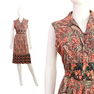 1970s Paisley Dress - 1970s Floral Dress - 1970s Sleeveless Dress - 1970s Fall Dress - 1970s Boho Dress - 1970s Dress   Size Large by VeraciousVintageCo