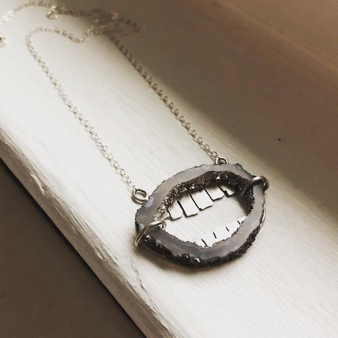 Agate Teeth Necklace Handmade in Sterling Silver by RachelPfefferDesigns