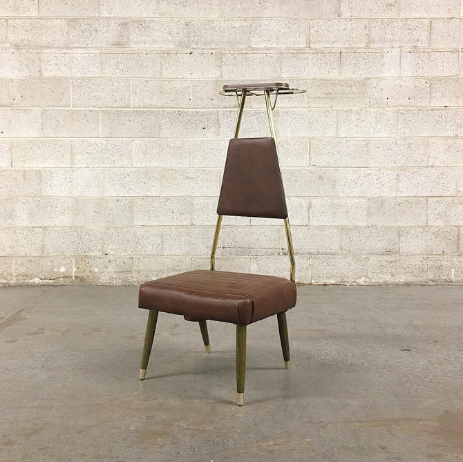 Vintage Butlers Chair Retro 1960s Valet Stand Mid Century Modern + Brown Wood Legs + Brown Vinyl + Gold Metal + MCM Stool Seat + Home Decor by RetrospectVintage215