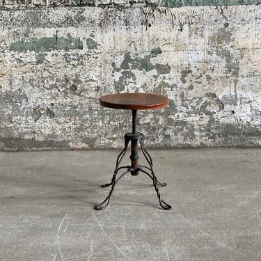Antique Twisted Wire Flashed Copper Oak Patrons Stool by NorthGroveAntiques