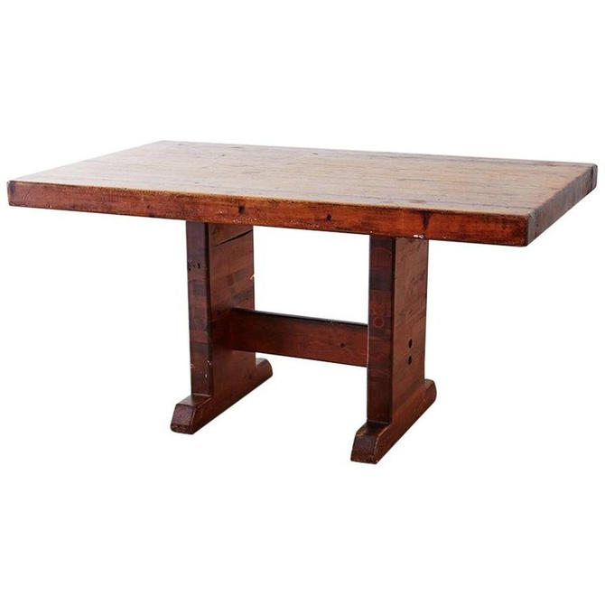 Rustic American Butcher Block Trestle Style Dining Table by ErinLaneEstate