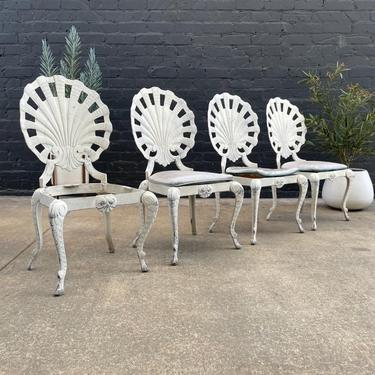 Vintage Hollywood Regency Aluminum Shell Back Grotto Patio Chairs by Tropitone, c.1970's by VintageSupplyLA