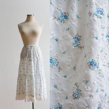 Vintage 1980s Prairie Skirt / Mini Floral Prairie Skirt / Vintage Eyelet Lace Skirt / Vintage Farm Skirt / Cotton Eyelet Skirt Large by milkandice