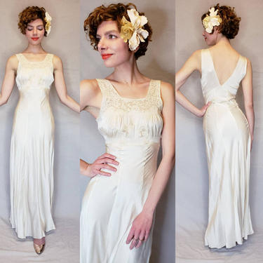 1930s Ivory Silk and Lace Nightgown Bias Cut Slip Dress / 30s Old Hollywood Cream Beige Open Back Negligee Gored Skirt / Small by RareJuleVintage